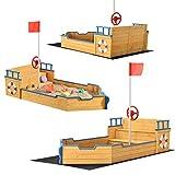 Juskys Sandkasten Käpt'n Pit - Piratenschiff Boot aus Holz – Große Kinder Sandkiste für den Garten mit Bodenplane und...