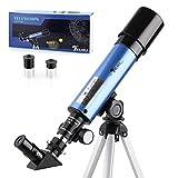 TELMU Astronomisches Teleskop Lichtteleskop zoom Tragbarer Refraktor mit Stativ Kinder...