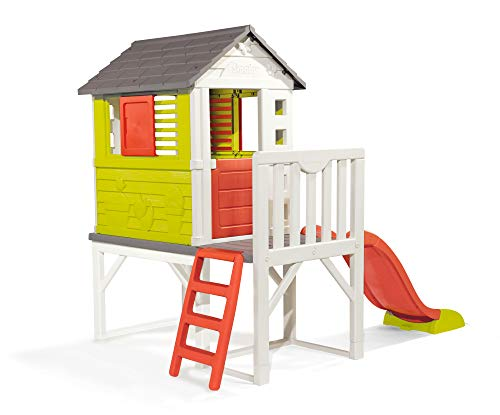 Smoby – Stelzenhaus - Spielhaus mit Rutsche, XL Spiel-Villa auf Stelzen, mit Fenstern, Tür,...