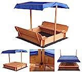 Home Deluxe - Sandkasten Buddelkiste - Mit verstellbarem Dach und Bodenplane - Maße: 130 x 120 x 120 cm - inkl. komplettem...