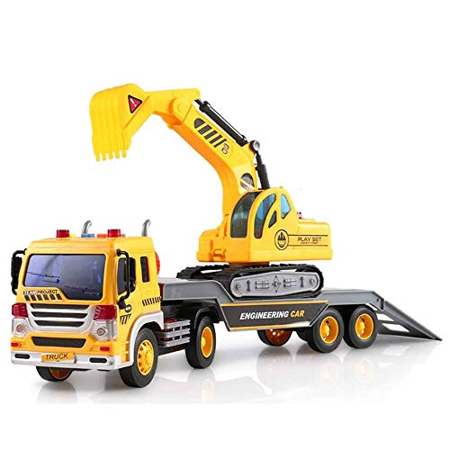 Baagialdic ToyThrill Friction Powered Flatbed Truck with Excavator Tractor - Push and Go Construction Toy for Boys and Girls with...