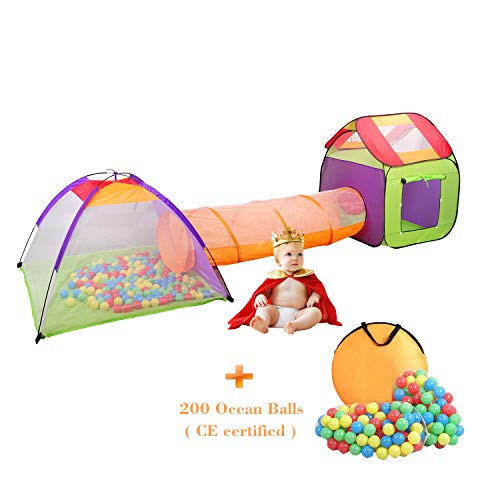 Wellhome Faltbare Pop Up Kinderspielzelt mit Tunnel Spielzelt mit Tasche und 200 Bälle Indoor und Outdoor für Jungen Mädchen...