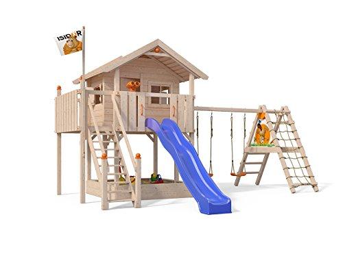 ISIDOR XL-Baumhaus COLINO Spielturm mit erweitertem Schaukelanbau und Sicherhheitstreppe, XXL- Rutsche, Sandkasten und Balkon auf...