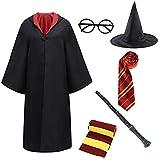 Miscoloor Umhang Kostüm für Zauberer,Deluxe Kostüm,Halloween Kostüm ,Zubehör Kit Kostüm Krawatte Schal,Zauberstab Brille...