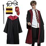 Amycute Zauberer Cosplay Kost¡§1me f¡§1r Erwachsene inklusive Umhang,Krawatte, Brillengestell,Zauberstab f¡§1r Magische...