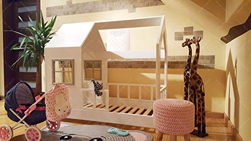 Oliveo HAUSBETT KINDERHAUS Bett für Kinder,Kinderbett Spielbett mit SICHERHEITSBARRIEREN (200...