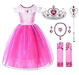 JerrisApparel Mädchen Prinzessin Aurora Kostüm Dornröschen Kleid (7 Jahre, Knöchellänge mit Zubehör)