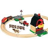 BRIO World 33719 Bahn Bauernhof Set – Holzeisenbahn mit Bauernhof, Tieren und Holzschienen – Kleinkinderspielzeug empfohlen ab...
