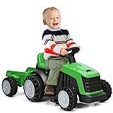 COSTWAY 6V Kinder Traktor mit abnehmbarem Anhänger, Elektro Traktor 2,5-3 km/h, 2-Gang Kinder Aufsitztraktor mit...