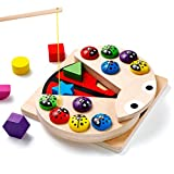 Babyhelen Montessori Spielzeug Angelspiel Holz Steckwürfel Formensortierspiel Pädagogisches Holzspielzeug mit Angelrute...
