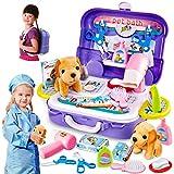 HERSITY Kinder Tierarztkoffer Tierarzt Spielset mit Hund Hundesalon Spielzeug Mädchen Rollenspiel Spielsachen Geschenke für...