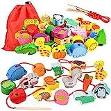 Geschenk für 1-3 Jährige Mädchen Junge, Holzspielzeug Threading Toy Geburtstagsgeschenk für 1 2 3 Jährige Kinder Mädchen...