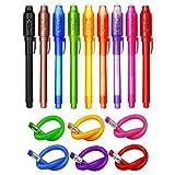 TAGVO 9 Geheimstifte Geheim Stift mit UV Licht + 6 Biegebleistifte Unsichtbar Schreiben Mitgebsel und Spielzeug Fuer Kinder...