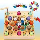LETOMY Magnetische Angelspiel Holzspielzeug 2 in 1 Montessori Lernspielzeug Magnettafel Fischspielzeug aus Holz Geschenk ab...
