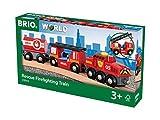 BRIO World 33844 Feuerwehr-Löschzug – Feuerwehrzug mit Feuerwehrschlauch und Wassertank – Kleinkindspielzeug empfohlen ab 3...