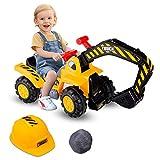 COSTWAY Sitzbagger mit eingebautem Ablagefach, Kinderbagger mit Horn, Bagger Spielzeug,...