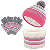TAGVO 3 in 1 Wintermütze Beanie Hut Schal Handschuhe Set für Kinder, Winter Verdicken Fleece Thermisch Strickmütze Mütze,...