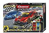Carrera GO!!! Race the Track Rennstrecken-Set   6,2m elektrische Rennbahn mit Lamborghini Huracán GT3 & Ferrari 488 GT3   mit 2...