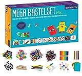 Smowo® Mega Bastelset Starterset - Bastelbox Mix - mit kreativen Bastelideen - Bunte Bastelbedarf Box zum basteln für Mädchen...