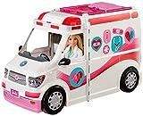 Barbie FRM19 - 2-in-1 Krankenwagen, aufklappbares Fahrzeug mit Licht und Geräuschen, Puppen Spielset mit Zubehör, Mädchen...