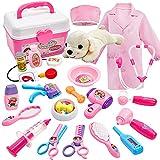 Buyger 26 Stück Tierarztkoffer mit Hund für Kinder Arztkoffer Doktorkoffer Tierarzt Spielset Hundesalon Rollenspiel Spielzeug ab...