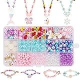 Hifot bastelset Kinder perlen schmuck basteln mädchen 400pcs+, DIY Einhorn Meerjungfrau Schmetterling Prinzessin Halskette...