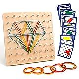 Homealexa Holz Geoboard Set Geometriebrett Montessori Holz Spielzeug für Kinder, Inspirieren die Phantasie und Kreativität des...