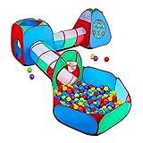 STLOVe Spielzelt Kinderzelt Angepasst Babyzelt mit krabbeltunnel(Ohne Bälle) 5-Teiliges Bällebad Spielhaus Tunnel mit Zelt...