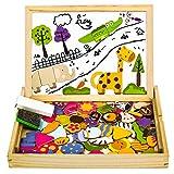 Magnettafel Kinder Lernspiele Puzzle Magnetspiel Montessori Spielzeug Holzpuzzle für Mädchen Jungs ab 3 4 5 6 Jahre, 123 Stück