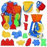 JoinJoy Sandspielzeug Sandkasten Spielzeug Set Für Kinder 19 Stück Strandspielzeug Set in wiederverwendbarer Netzbeutel...