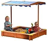 dobar 94350FSC - Sandkasten aus FSC-Holz, Dach höhenverstellbar und neigbar mit UV 801-Schutz inklusive Bodenplane, 117 x 117 x...