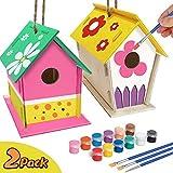 jiangwangda Kirsch Basteln für Kinder Alter 4-8 - 2Pack DIY Vogelhaus Kit - Bauen und Malen Vogelhaus (einschließlich Farben und...