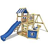 WICKEY Spielturm SeaFlyer - Klettergerüst für den Garten mit Schaukel, Strickleiter, blauer...