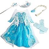 YOGLY Mädchen Prinzessin Elsa Kleid Kostüm Eisprinzessin Set aus Diadem, Handschuhe, Zauberstab, Größe 110, 07 Kleid und...