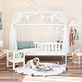 Alcube® Hausbett 160x80 cm - Kinderbett mit Rausfallschutz & Lattenrost - Holz Kinder Bett für Jungen & Mädchen ab 3 Jahren -...