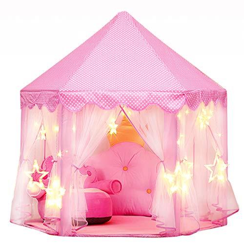 joylink Kinderspielzelt, Mädchen Prinzessin Zelt mit Sterne Lichterkette Kinder Schloss Zelt Spielhaus, Prinzessin Castle...