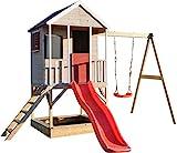 Wendi Toys Kinder Garten Spielhaus | Spielturm mit Rutsche und Schaukel | Rot Stelzenhaus für Jungen und Mädchen 3-7 Jahre |...