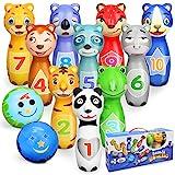 Sanlebi Kegelspiel für Kinder Ball Set mit 10 Kegel und 2 Bälle Bowling Set Mini Drin und Draußen Spielzeug Geschenke Spiele ab...