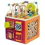 B. toys – Großer Motorikwürfel aus Holz Activity Center – Lernspielzeug Aktivitätswürfel mit Zootieren Zany Zoo...