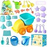 Sandspielzeug, Sandkasten Spielzeug Set mit Sand Förmchen, Soft Plastic Truck, Gießkanne, Eimer, Wasserrad, Schaufel...
