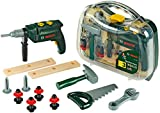 Theo Klein 8416 Bosch Werkzeugkoffer, groß I 16-teiliges Werkzeug-Set I Inkl. batteriebetriebenem Bohrer mit Licht und Sound I...