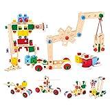 Bino Holz-Baukasten im Eimer, Spielzeug für Kinder ab 3 Jahre, Kinderspielzeug (Konstruktionsspielzeug, 120 teilig, zum Bauen von...