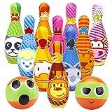 Kegelspiel für Kinder Bowling Ball Set mit 10 Kegel und 2 Bälle in netzbeutel...