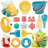 17 Stück Strand Sandspielzeug Set mit Wasserrad, Strandbuggy, Eimer, Netzbeutel, Sandformen, Weichem Kunststoff Spielzeug Strand...
