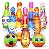 Kegelspiel für Kinder Bowling Ball Set mit 10 Kegel und 2 Bälle in netzbeutel Drinnen Draußen Spielzeug Geschenke Spiele ab 3...
