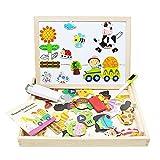 Lewo Magnetisches Holzpuzzle Baby Lernspielzeug Geschenk für Kinder Jungen Mädchen Magnet Kinderspielzeug Doppelseitige...