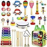 AILUKI 27 Stück Musikinstrumente Musical Instruments Set, Holz Percussion Set Schlagzeug Schlagwerk Rhythm Toys Musik...