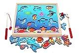 Toys of Wood Oxford magnetisches Angelspiel aus Holz - 15 Magnet-Fische und 2 Angel-Ruten - Spielzeug Angeln Motorikspielzeug...