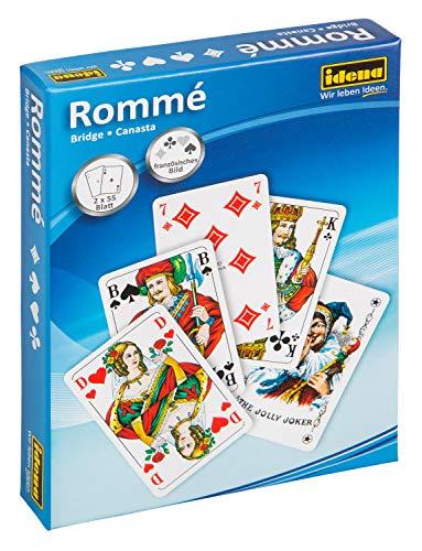 Idena 6250080 - Spielkarten für Rommé, Canasta und Bridge, 2 x 55 Karten, französisches...
