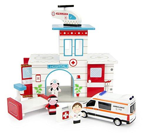 Leomark Krankenhaus aus Holz - mit Helikopter und Figuren - Spielhaus für Kinder, Spielsets +...